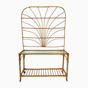 Vintage Rattan & Bamboo Plant Stand with Trellis, 1960s