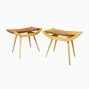 Vintage Hocker aus Holz & Seil, 2er Set