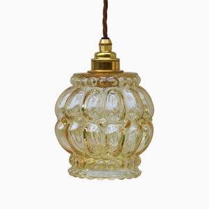 Lampada Mid-Century in vetro ambrato a bolle, anni '70