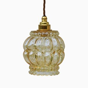 Mid-Century Amber Bubble Glass Pendant Light, 1970s