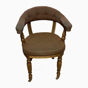 Antique Oak-Framed Captain's Style Desk Chair
