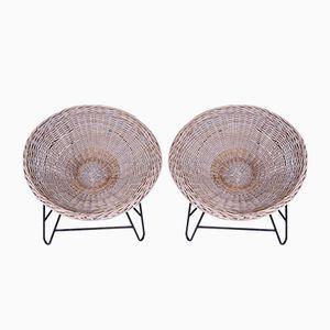 Chaises Vintage en Osier, Set de 2