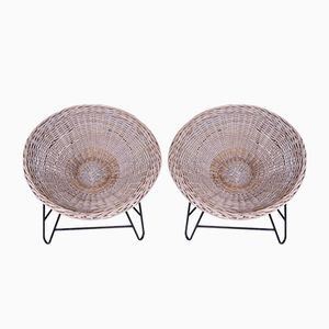 Vintage Wicker Chairs, Set of 2