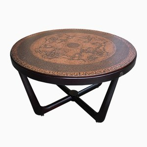 Vintage Stamped Copper and Wood Egyptian Themed Coffee Table by Vad Trevare, 1970s
