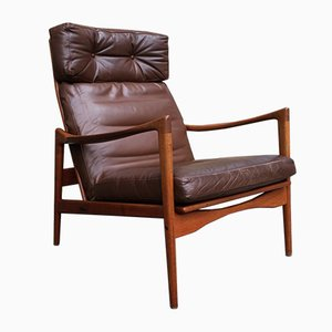 Mid-Century Swedish High Back Lounge Chair by Ib Kofod-Larsen for OPE, 1960s