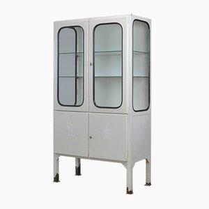 Mueble médico vintage de hierro y vidrio, años 70