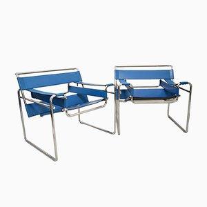 Wassily Armlehnstuhl aus Chrom & Leder von Marcel Breuer für Gavina, 1960er, 2er Set
