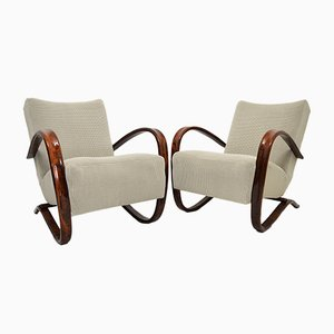 Beech Bentwood H-269 Lounge Armchairs by Jindřich Halabala, Set of 2
