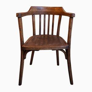 Sedia da scrivania vintage in legno curvato