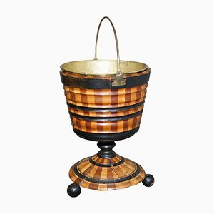 Antique Maple & Ebony Biedermeier Peat Bucket