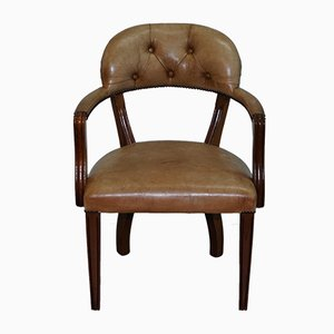 Antique Brown Leather Dining Chair