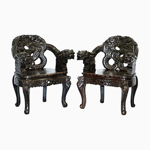 Qing Dynasty Carved Dragon Armchairs, 1870s, Set of 2
