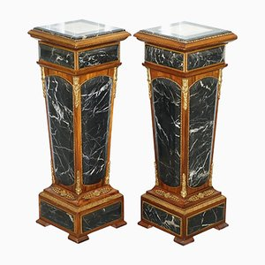 Antique French Empire Marble, Kingwood & Ormolu Mounts Pedestal Columns, Set of 2