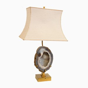 Vintage Brass & Agate Lamp by Willy Daro