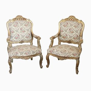 Vintage Gilded Wood Armchairs, 1930s, Set of 2