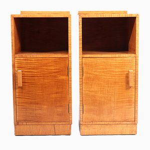 Art Deco Satin Birch Bedside Cabinets, 1930s, Set of 2