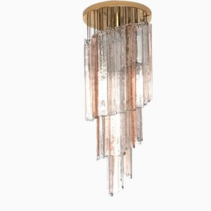 Lámpara de techo de cristal de Murano en espiral de Mazzega, años 70