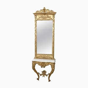 Antique Carved and Gilded Console Table with Mirror, 1880s