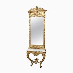 Consolle antico dorato intagliato con specchio, fine XIX secolo