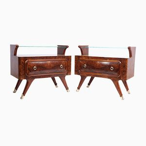 Mid-Century Italian Walnut Bedside Tables, 1950s, Set of 2