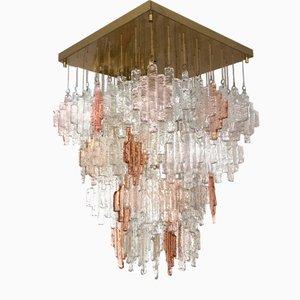 Lámpara de techo italiana de cristal de Murano de Mazzega, años 70