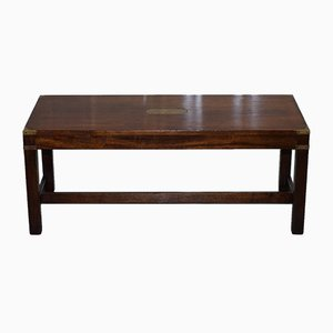 Mahogany Military Campaign Coffee Table from Kennedy Furniture, 1980s