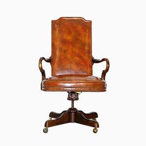 Chaise de Bureau en Cuir Marron, 1920s