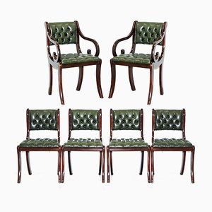 Leather & Mahogany Dining Chairs from Beresford & Hicks, 1980s, Set of 6