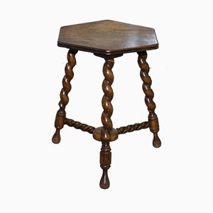 Small Edwardian English Oak Side Table with Barley Twist Legs