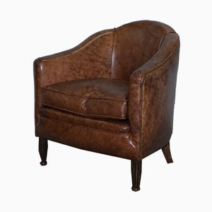 Small Art Deco Brown Leather Club Armchair, 1920s