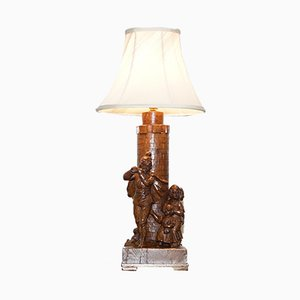 Antike Arts & Crafts Tischlampe aus geschnitztem Holz