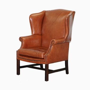 Brown Leather Wingback Armchair, 1920s
