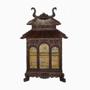 Antique Chinese Pagoda Hand-Carved Cabinet