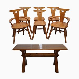 Solid Pine Set with X-Framed Dining Table & 6 Chairs from Robin Nance, 1950s