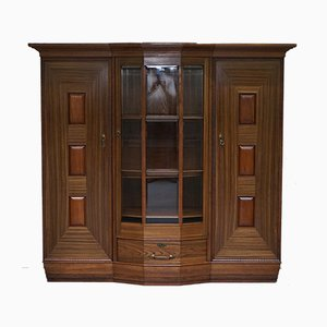 Large Art Deco Teak Bookcase with Front Glazed Door, 1940s