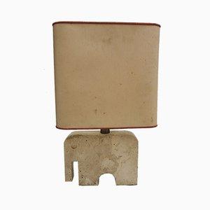 Lámpara vintage con base en forma de elefante de travertino de Fratelli Mannelli