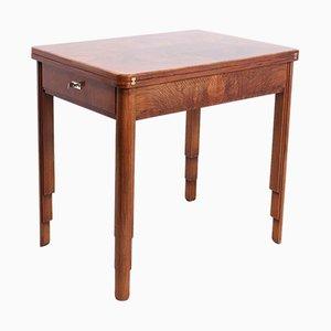 Tavolo da gioco Art Déco in legno di noce, anni '20