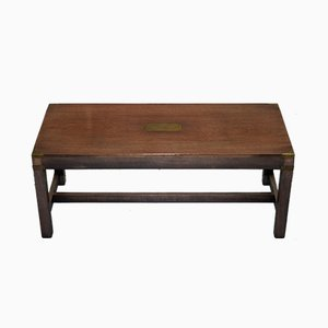 Antique Mahogany & Brass Military Campaign Coffee Table from Kennedy Furniture