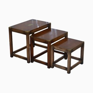 Antique Mahogany Military Campaign Nesting Tables from Kennedy Furniture