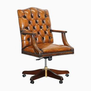 Chesterfield Gainsborough Brown Leather Directors Chair, 1950s