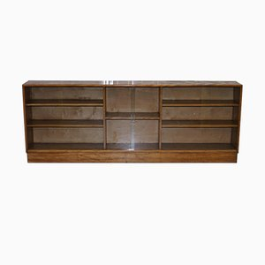 Large Mahogany Bookcase with Glass Doors, 1950s