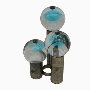 Candelabros vintage de vidrio y metal
