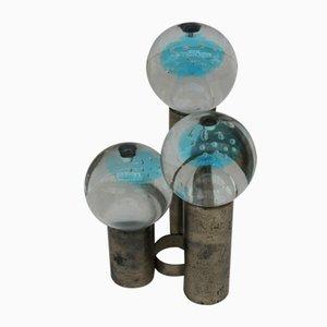 Vintage Kerzenhalter aus Glas & Metall