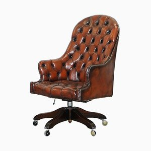 Vintage Brown Leather Chesterfield High Back Directors Chair, 1950s