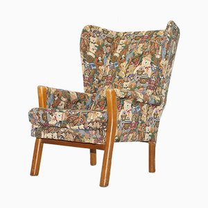 Vintage Wingback Armchair with Teddy Bear Upholstery from Parker Knoll, 1980s