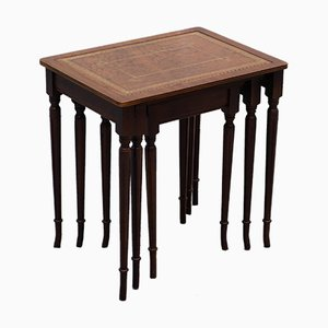 Gold Leaf, Mahogany & Brown Leather Nesting Tables Set, 1920s