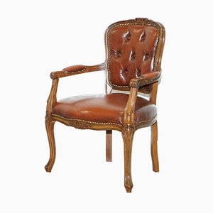 Antique French Louis XVII Style Brown Leather Chesterfield Buttoned Armchair
