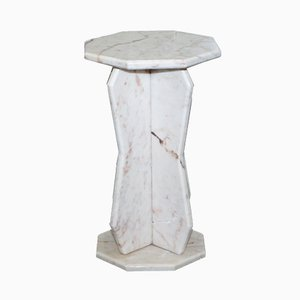 Small White Solid Marble Side Table, 1980s