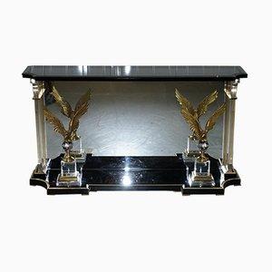 Table Console Vintage en Lucite avec Aigles Bronzés, 1920s