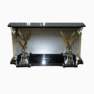 Vintage Lucite Console Table with Bronzed Eagles, 1920s